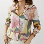 Textured Patterned Chiffon Blouse