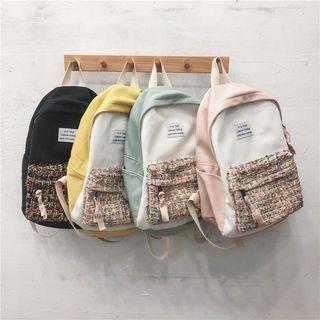 Color Block Tweed Panel Backpack