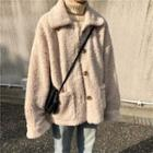 Faux Shearling Button Jacket Almond - One Size