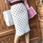 Polka Dot Knit Pencil Skirt