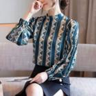 Stand Collar Patterned Blouse
