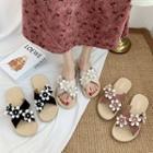 Cross Strap Floral Sandals