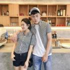 Couple Matching Short-sleeve Striped Shirt