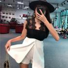 Set: Short-sleeve Lace Panel Top + Shorts