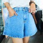Washed A-line Denim Shorts