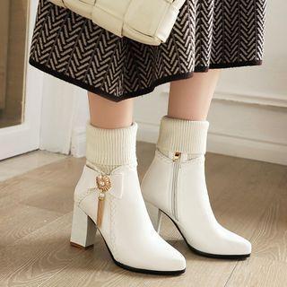 Block Heel Rhinestone Bow Tall Snow Boots