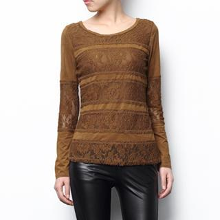 Long-sleeve Lace Panel Top
