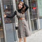 Knit Top / Plaid Buttoned Pinafore Dress / Set