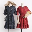 Ruffled-trim Dotted A-line Dress