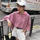 3/4-sleeve Oversized Plaid Polo Shirt