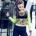 Long-sleeve Hooded Patterned Cropped Top