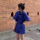 Plain Elbow-sleeve Shirt / Ruffled Mini Skirt