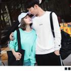 Couple Match Long Sleeve Perfect Letter Embroidered Pullover