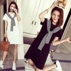 Short-sleeve Tie-neck T-shirt Dress