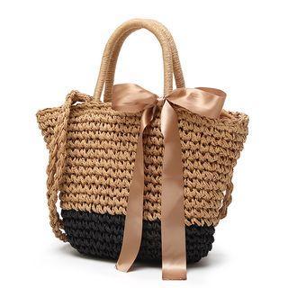 Straw Bow-accent Handbag