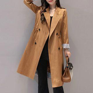 Double-buttoned Drawstring Trench Coat