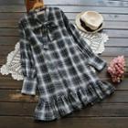 Tie-neck Plaid A-line Dress