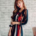 Striped 3/4 Sleeve Midi Chiffon Dress