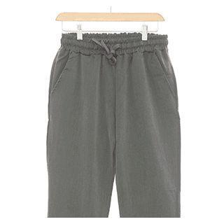 Band-waist Straight-cut Linen Blend Pants