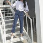 Contrast Trim Cropped Jeans / Wide Leg Denim Shorts