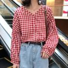 V-neck Gingham Shirt