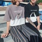 Couple Matching Elbow-sleeve Printed T-shirt