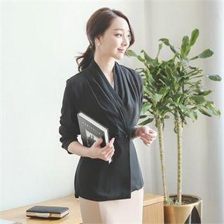 Shirred Chiffon Jacket With Cord
