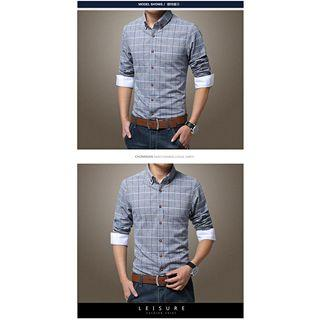 Elbow-sleeve Check Shirt