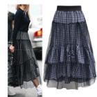 Plaid Mesh Overlay Maxi Skirt