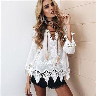 3/4-sleeve Crochet Hem Lace-up Top White - One Size