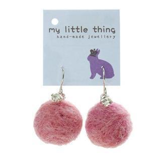 Purple Felt Ball Ball Stone Earrings
