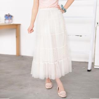 Polka Dot Panel Tulle Maxi Skirt Off-white - One Size