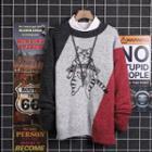 Color Block Cat Print Sweater