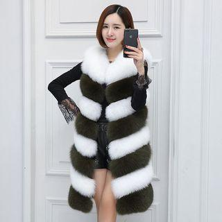 Two-tone Faux Fur Long Vest