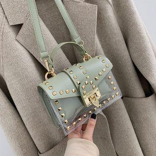 Set: Studded Transparent Satchel Bag + Pouch