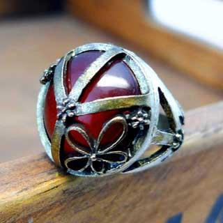 Vintage Gemstone Ring -red Red - One Size