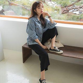 Band-waist Wide Leg Pants