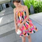 Patterned Strappy Chiffon Dress