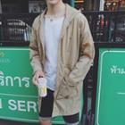 Drawstring Waist Hooded Long Jacket