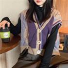 Argyle Cropped Buttoned Knit Vest / Turtleneck Long-sleeve Top