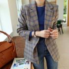 Double-breasted Plaid Blazer One Size