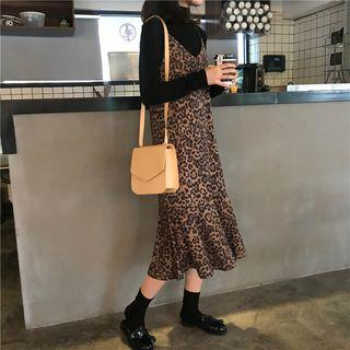 Leopard Print Spaghetti Strap Dress Leopard - Khaki - One Size