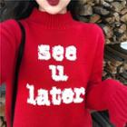 Mock Neck Letter Embroidered Sweater Red - One Size