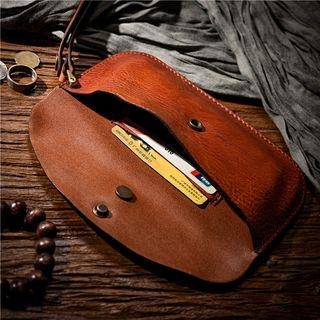Genuine Leather Coin Purse Brown - One Size