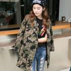 Camouflage-print Double-breasted Coat