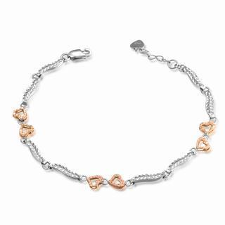 14k Italian Rose And White Gold Diamond-cut Heart And Wave Segment Bracelet (6.5), Women Jewelry In Gift Box