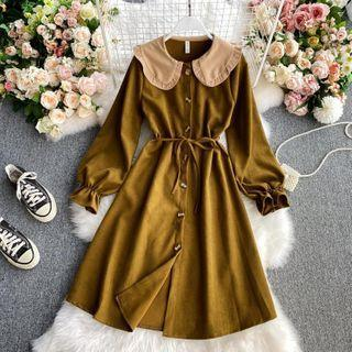 Collared Plain Single-breasted Dress