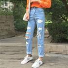 Cloud Print Distressed Jeans