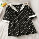 Contrasted Polka-dot Chiffon Shirt