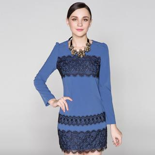 Long-sleeve Lace-trim Dress